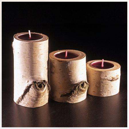 přírodní svícny s kůrou