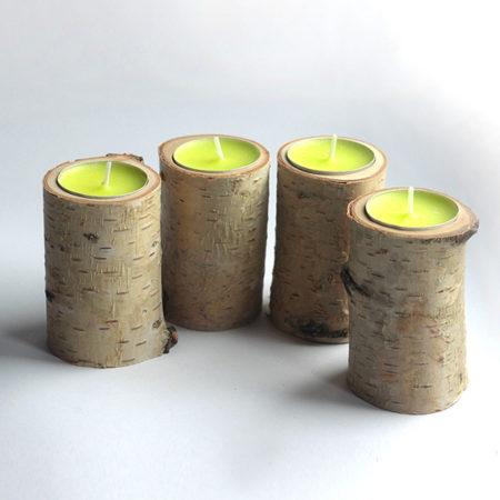 Březové dekorační svícny